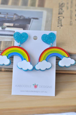 A Acrylic Perspex Rainbow Cloud Dangle Earrings