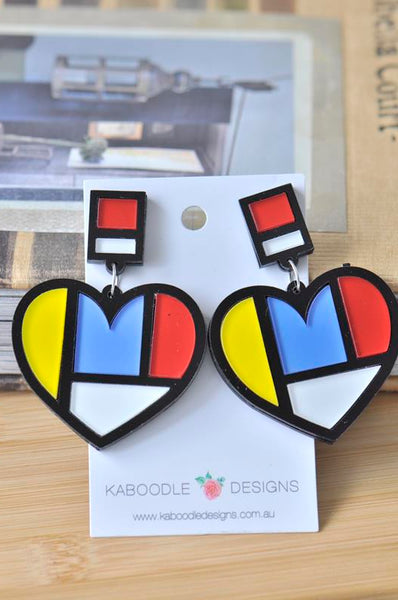 Acrylic Perspex Laser Cut Mondrian Heart Drop Earrings