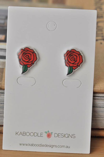 Novelty Fun Red Rose Stud Earrings