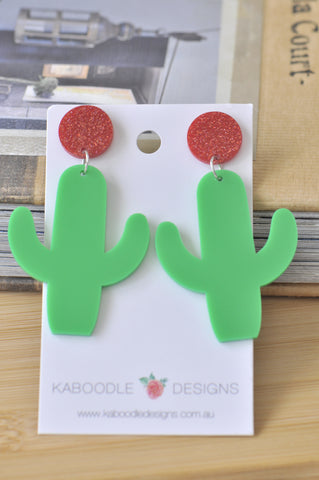 Acrylic Perspex Laser Cut Green Cactus Drop Earrings