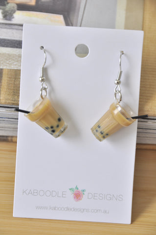 A Bubble Tea Pearl Milk Tea Boba Novelty Fun Drop Dangle Earrings