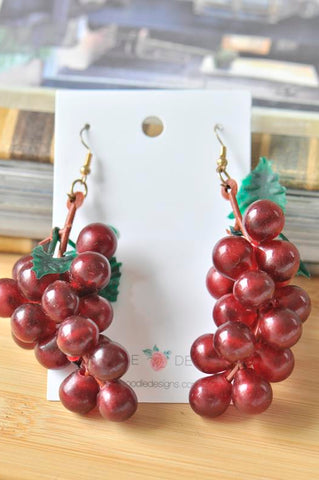 A Cluster Purple Grapes Wine Winery Vineyard Drop Earrings