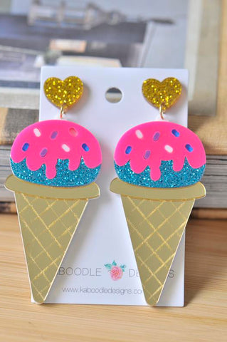 A Acrylic Ice Cream Glitter Drop Dangle Earrings