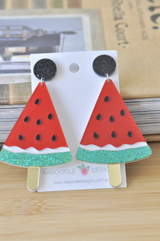 Acrylic Laser Cut Watermelon Drop Dangle Earrings