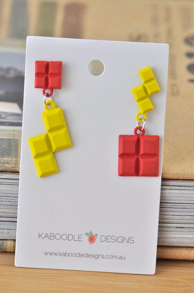 Novelty Fun Tetris Drop Dangle Earrings