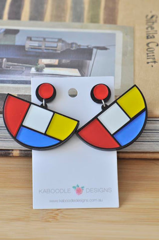 Acrylic Laser Cut Mondrian Semi-Circle Drop Dangle Earrings