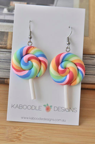 Colourful Clay Swirl Lollipop Candy Novelty Fun Drop Dangle Earrings