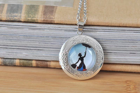 Handmade 30mm Glass Locket Pendant Necklace - Mary Poppins