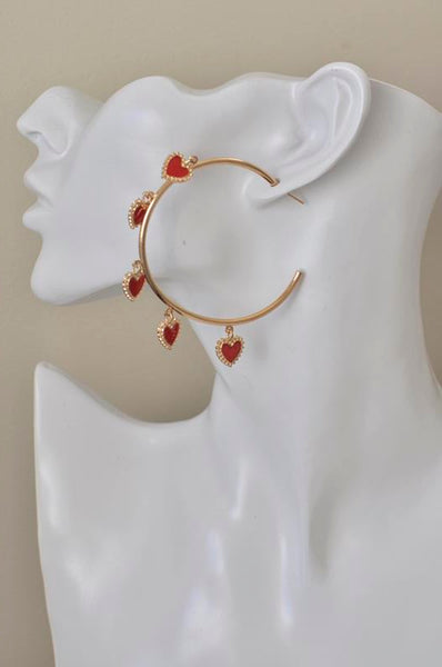 Red Hearts Hoops Drop Earrings