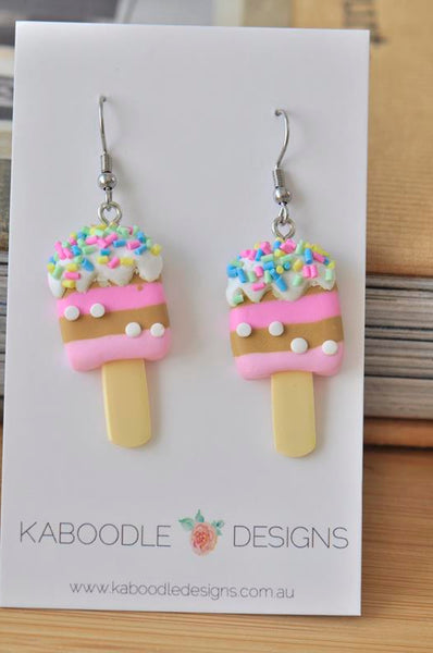 Clay Ice Cream Popsicle Sprinkles Novelty Fun Drop Dangle Earrings