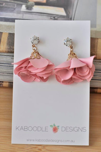 Bohomian Boho Rhinestone Diamonte Pink Flower Statement Drop Earrings