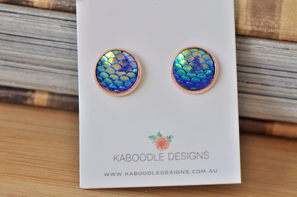 Resin Fish Scale Mermaid Rose Gold Stud Earrings - FS02
