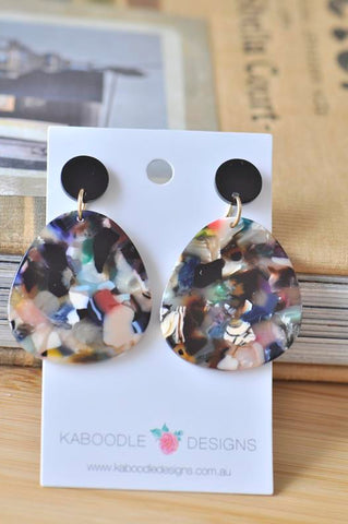 Acrylic Lucite Acetate Teardrop Banded Stud Drop Dangle Earrings