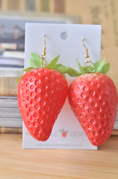 Large 3D Strawberry Dangle Drop Earrings