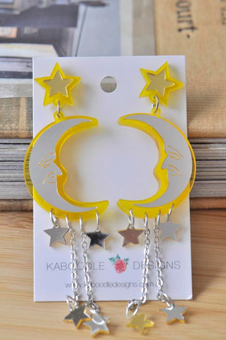 Acrylic Moon and Star Drop Dangle Earrings