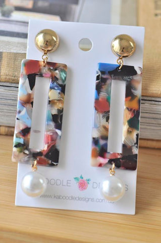 Acrylic Lucite Acetate Rectangular Pearl Bead Stud Drop Dangle Earrings