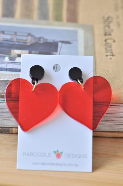 Acrylic Red Transparent Heart Valentines Day I Love You Drop Dangle Earrings