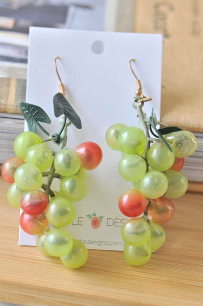 Cluster Green Grapes Wine Winery Vineyard Drop Earrings