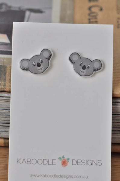 Acrylic Australia Koala Stud Earrings