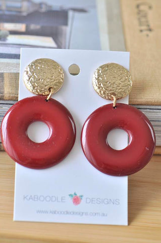 Acrylic Perspex Banded Round Circle Statement Stud Drop Dangle Earrings - Maroon Red