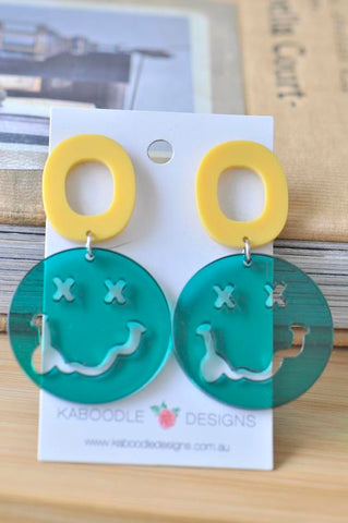 Acrylic Happy Smile Face Drop Dangle Earrings