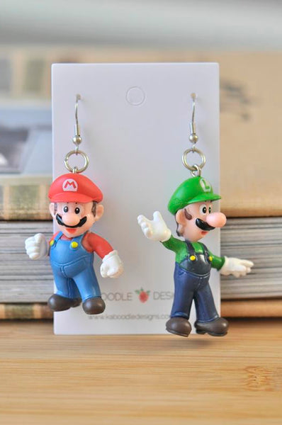 Novelty Mario and Luigi Drop Dangle Earrings