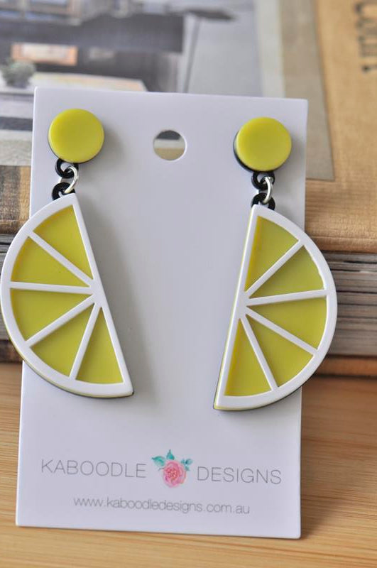 Acrylic Perspex Laser Cut Lemon Drop Dangle Earrings