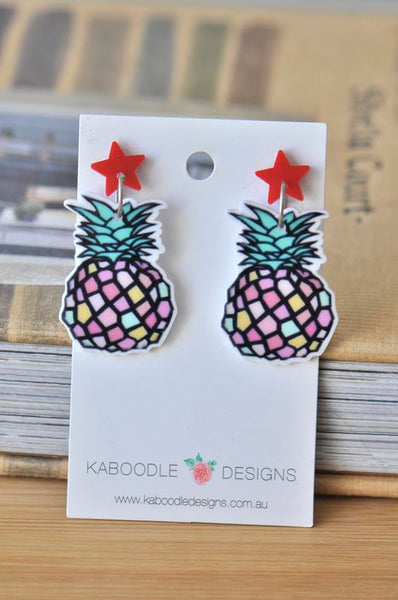 Acrylic Resin Multicoloured Pineapple Drop Dangle Earrings