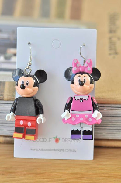 Mickey Mouse and Minnie Mouse Inspired Drop Dangle Earrings