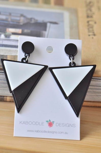 Acrylic Perspex Black and White Geometric Triangle Drop Dangle Earrings