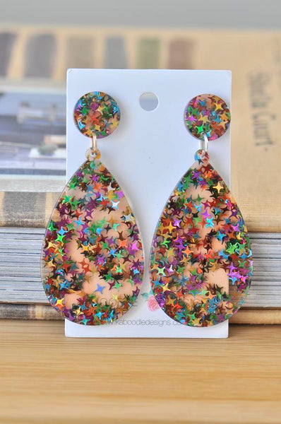 Acrylic Glitter Star Teardrop Rainbow Drop Dangle Earrings