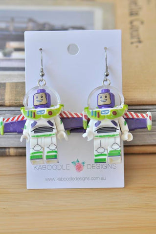 Buzz Lightyear Toy Story Inspired Lego Novelty Fun Drop Dangle Earrings