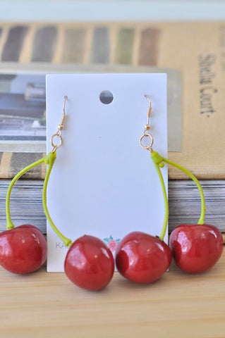 A Cherry Novelty Dangle Drop Earrings