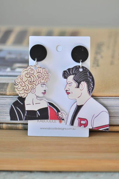 Acrylic Classic Retro Grease Sandy and Danny Drop Dangle Earrings