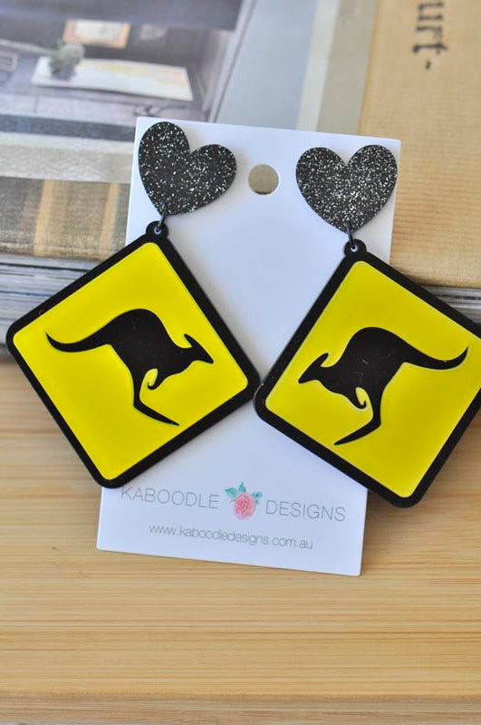 Acrylic Perspex Laser Cut Kangaroo Sign Australia Drop Earrings