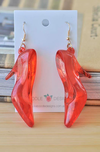 Wizard of Oz Dorothy Red Shoes Glass Slippers Heels Novelty Dangle Drop Earrings