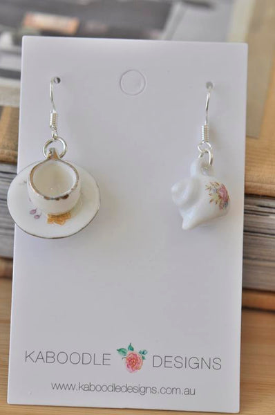 Ceramic Porcelain Teacup and Teacup Novelty Fun Drop Dangle Earrings