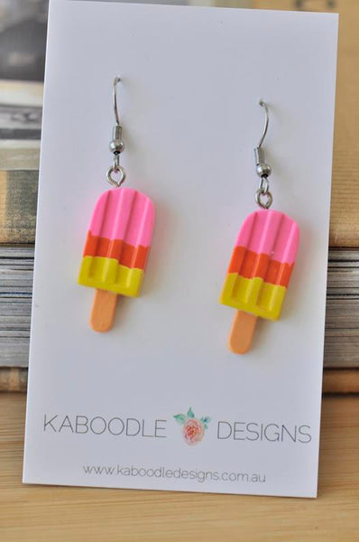 Ice Cream Ice Pops Ice Block Popsicle Strawberry Orange Lemon Novelty Fun Dangle Earrings