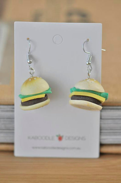 Miniature Hamburger Cheeseburger Polymer Clay Drop Earrings