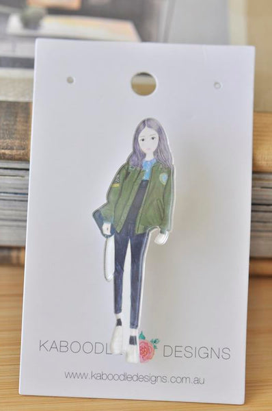 Acrylic Fashion Girl Pin Brooch