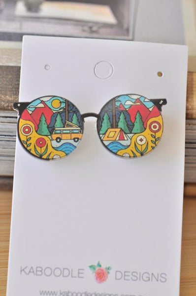 Acrylic Laser Cut Sunglasses Camping Hiking View Pin Brooch