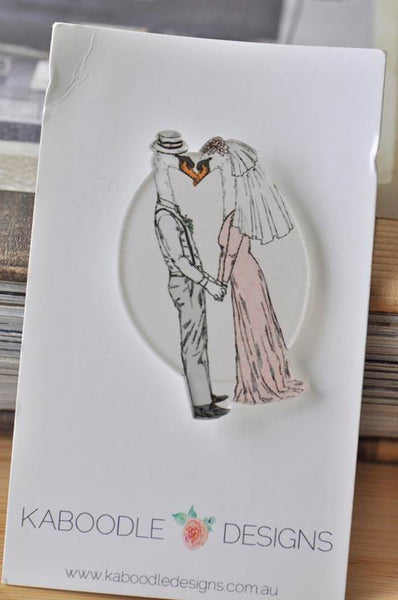 Acrylic Laser Cut Bride and Groom Married Goose Geese Pin Brooch