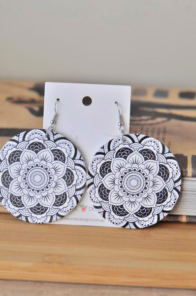 Wooden Mandala Circle Drop Dangle Earrings - Black and White