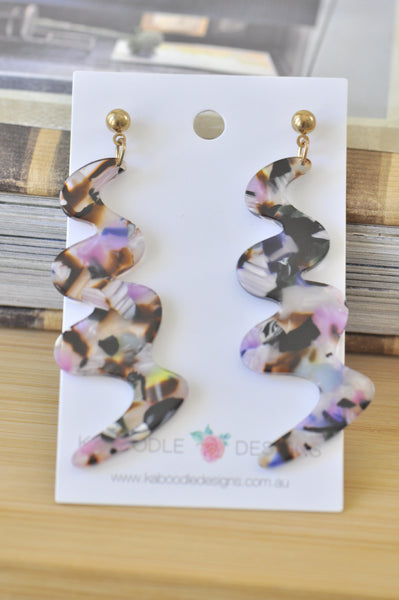 Acrylic Perspex Geometric Swirl Acetate Snake Dangle Drop Earrings