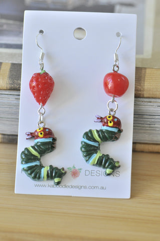 Novelty Fun A Very Hungry Caterpillar Apple Strawberry Dangle Earrings