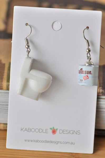 Toilet and Toilet Paper Novelty Fun Drop Dangle Earrings