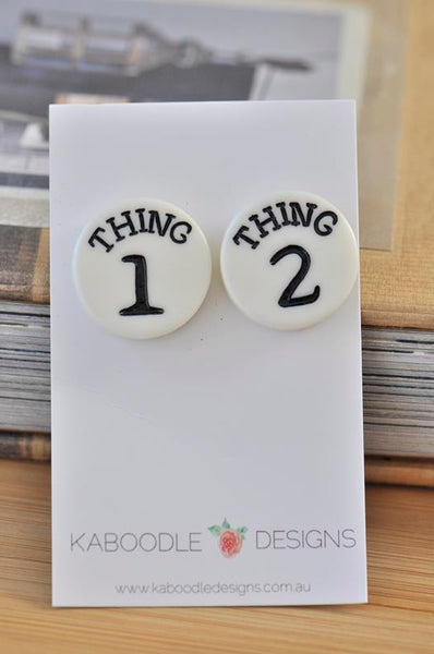 Resin Dr Seuss Inspired Thing One and Thing Two Novelty Fun Teacher Dangle Earrings