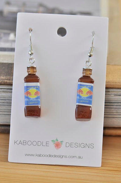 Thai Krating Daeng Red Bull Energy Drink Novelty Fun Drop Dangle Earrings