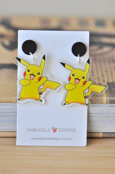 Acrylic Pokemon Pikachu Drop Dangle Earrings