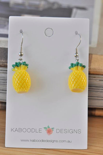 Miniature  Food Resin Pineapple Dangle Earrings